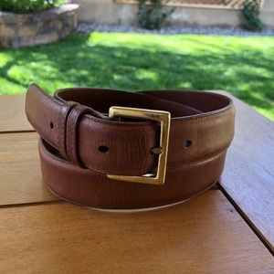 Vintage Coach Brown and Gold Leather Belt 34